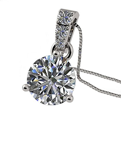 Central Diamond Center Nana Sterling Silver Swarovski Cubic Zirconia 3/Prong Round Solitaire Pendant 6.5mm, 7.5mm, 8.0mm