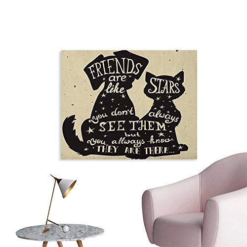 - Anzhutwelve Inspirational Photographic Wallpaper Cat and Dog Silhouettes with Friendship Themed Phrase ans Stars Grungy Display Funny Poster Black Tan W36 xL32