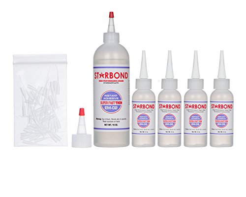 Starbond EM-02 Super Fast Thin, Instant PREMIUM CA (Cyanoacrylate Adhesive) - Super Glue Kit with Extra Bottles, Caps, and Microtips, 16 oz. (Bulk size) (For Woodturning, Pen Turning, 3D Printing)