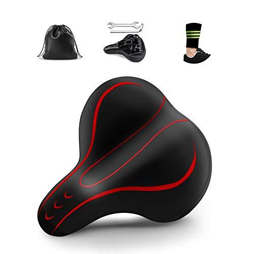 KeShi Bike Seat, Comfortable Bike Seats for Men and Women – Universal Waterproof Bicycle Seat – Dual Shock Absorbing Memory Foam Bike Saddle – with Mounting Tools and Reflective Strap(Red)