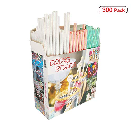 300 Pack Paper Straws 3 Different Colors White