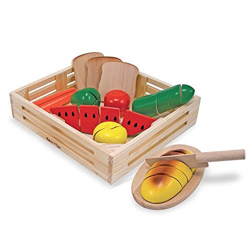 Cut Food - Melissa & Doug Cutting Food - Play Food Set With 25+ Hand-Painted Wooden Pieces, Knife, and Cutting Board