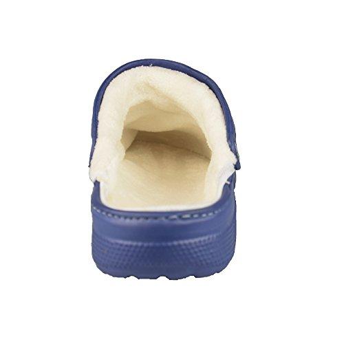 BTS Zuecos Zapatillas con forro interior y correa de talón–Cómodo Y Caliente, color: azul, GR. 36–