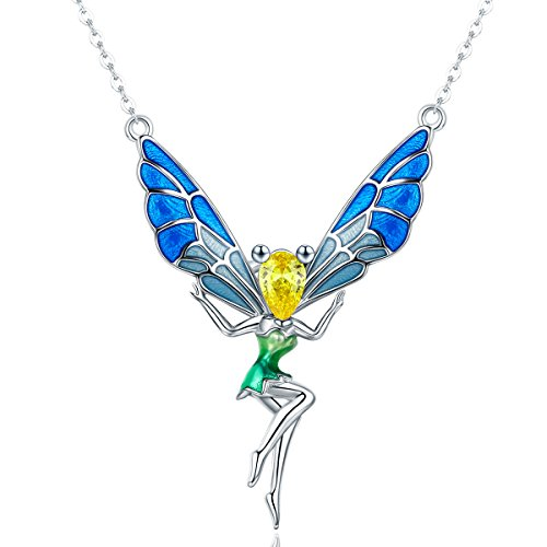 (Kismary Sterling Silver Cute Animal Pendant Necklace, Fox Cat Butterfly Flower Fairy Mermaid Bee Dragonfly Swan Sunflower Necklace Pendant Jewelry Set Gift for Women Girls (Flower Fairy))