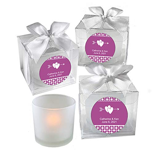 All Things Weddings, PERSONALIZED Votive Tealight Candle and Holder, Double Interlocking Hearts with Bow Design, Party Favors, Weddings, Bridal Party, Quinceanera, Set of 24, Violet