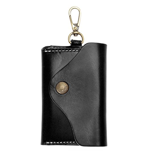 Unisex Handmade Leather Key Wallet Holder Card Case Key chain (Black) from ZLYC