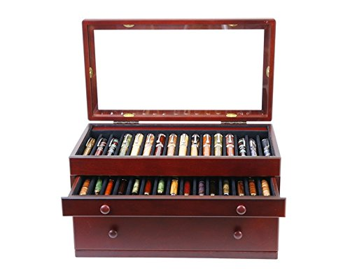 Mahogany Pen Chest with Glass Top - 46 Pens by Lanier Pens