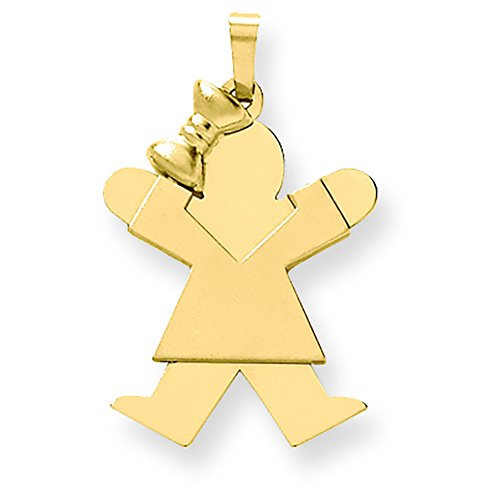 14K Yellow Gold Solid Engravable Girl