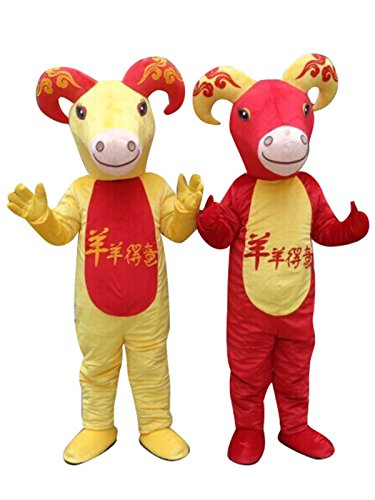 Sinoocean Goat Sheep Cattle Cartoon Mascot Costume Fancy Dress Cosplay Suit Outfit (Red(Right))]()