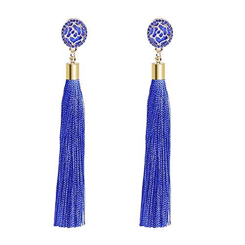 Tassel Earrings, 1-4 Pairs, Bohemian Statement Thread Tassel Drop Dangle Earrings with Cassandra Button Stud (Blue)