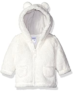Carters Unisex Baby Hooded Sherpa Jacket (9 Months, Ivory)