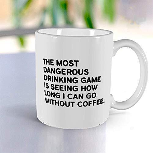Coffee Drinking Game! Funny Coffee Mug & Tea Mug- Fun Mugs- Funny Gift for Women & Men. White Ceramic Mug- 11 oz.