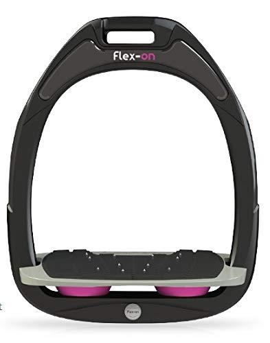 【 限定】フレクソン(Flex-On) 鐙 ガンマセーフオン GAMME SAFE-ON Mixed ultra-grip フレームカラー: ブラック フットベッドカラー: グレー エラストマー: ピンク 06364   B07KMFMM27