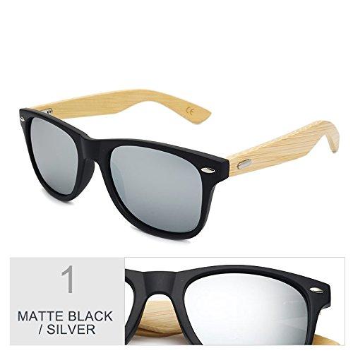 Multi MBlack por madera de bambú hombre mujer gafas TL de Silver color el real Gafas marrón Sunglasses de espejo de sol sol de 0nInz1xqH