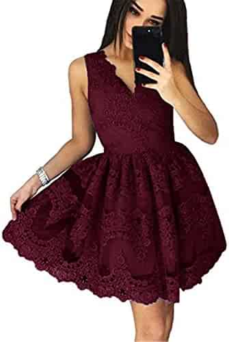 d483459b4b Uryouthstyle V-Neck 2018 Short Lace Homecoming Dresses See Through
