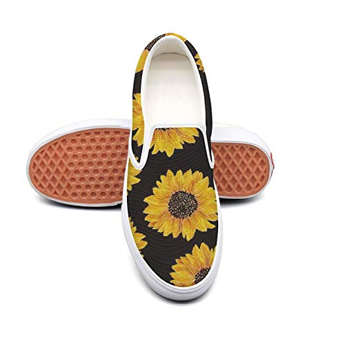 Beautiful Yellow Sunflowers Classic Canvas shoes Slip On Skate Sneakers women Fashion Print cool Durable shoe