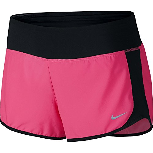 [Women's Nike Crew Dry Running Short Hyper Pink/Black/Reflective Silver Size Small] (Reflective Running Shorts)