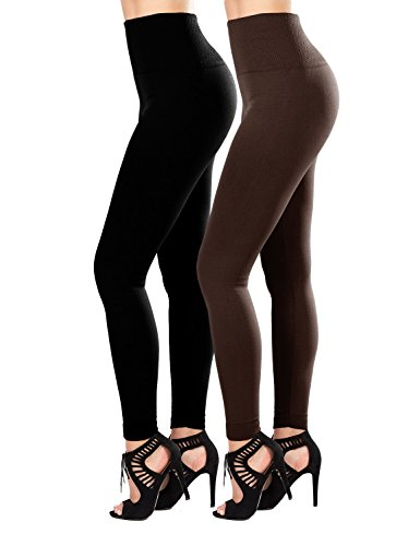 SATINA 2-Pack Fleece Lined Leggings High Waist Compression Slimming Warm Opaque (One Size, Black/Brown)