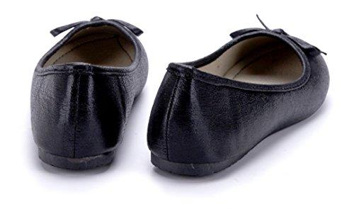 Schuhtempel24 Damen Schuhe Klassische Ballerinas Flach Zierschleife Schwarz