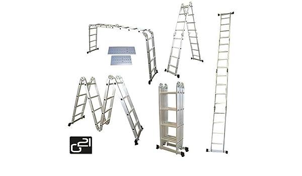 G21 6390463 Escalera seccional Aluminio escalera - Escalera de mano (4,6 m, 150 kg, 18 kg, 2,32 m): Amazon.es: Bricolaje y herramientas