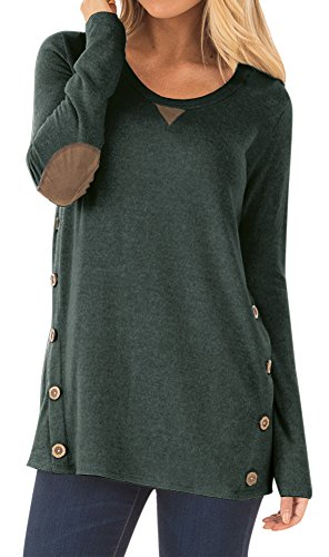 Womens Casual Cotton Blouse Soild Color Round Neck Long Sleeve Tunic With Bottons Tops Forest Green M