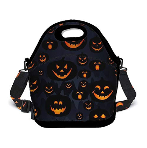 Jinkela Halloween Pumpkin Patterns Lunch Bag Insulated Tote Handbag Lunchbox Food Container Gourmet Tote Cooler Warm Pouch with Shoulder Strap for Women Teens Girls Kids Students Adults for $<!--$19.99-->