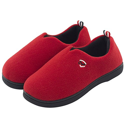 Women's Comfort Polar Fleece Slip on Slippers Color Block Memory Foam House Loafers Shoes w/Indoor, Outdoor Sole,Red,Medium / 7-8 B(M) US