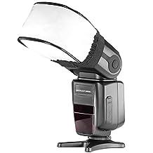 Neewer® Pro (Pro Version of Neewer® Product) Universal Soft Mini Flash Bounce Diffuser Cap for On Camera or Off Camera Flash Gun, for Canon 430EX II, 580EX II, 600EX-RT, Nikon SB600 SB800 SB900,SB910, Neewer TT520, TT560, TT680, TT850, TT860, Youngnuo YN560, YN565, YN568, Vivita Flash, Sunpack, Sunpak, Nissin, Sigma, Sony, Pentax, Olympus, Panasonic Lumix Flashes with a Carrying CaseUniversal Flash Diffuser