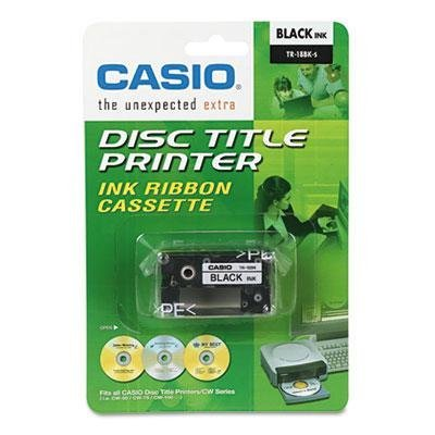 5 Pack of Casio TR-18BK Ribbon Thermal Cartridge (Black) for Casio Disc Title Printers