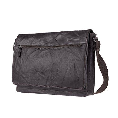 DUDU Bolso Hombre bandolera Verdadera piel arrugada Vintage Messenger bag Marron oscuro