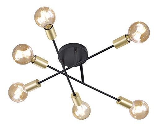 Trio Leuchten Cross A++ Tot E, Plafondlamp, Metaal, E27, 56,6 X 56,6 X 19,11 Cm, Mat Zwart/Goud