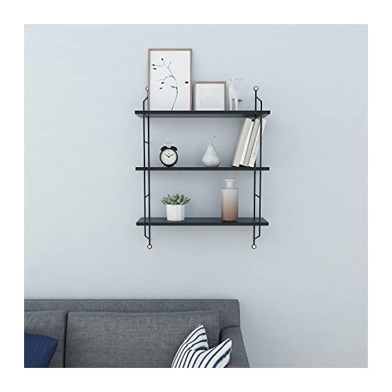 Floating Shelves Wall Mounted, Industrial Metal Frame Wood Wall Storage Shelves for Bedroom, Living Room, Bathroom, Kitchen, Office and More, 3 Tier(Black) - ♬➧Quite Deeper than Other Display Shelves: 19x 6 x 25 inches, and each tier 8 inch in deep, Good choice for Bigger CD and Books. Each Shelf can hold 50 lbs.【We promise 30 days Money-Back Guarantee, Worry-Free 36 Month Quality Warranty and friendly customer service for our products.】 ♬➧Functional Storage shelves: The floating shelves are composed of nature wood boards and metal brackets, fashionable and practical, useful for adding extra storage space to store and reorganize small items in your bathroom, bedroom, living room, kitchen, and more. A nice way to clear up the clutter. ♬➧Urban Chic and Useful Wall Shelves: Designed in urban chic style with wood and industrial metal brackets, the shelves are the perfect decoration to match Urban and industrial design elements. These shelves make a unique and decorative way to add storage space. - wall-shelves, living-room-furniture, living-room - 41HRwwoIqOL. SS570  -