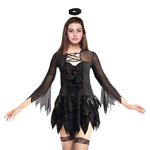 Halloween Cosplay Costume Fallen Angel Dress Dark Angel Costume With Headband Party Family Costume (length: (Angel Makeup For Halloween Costume)