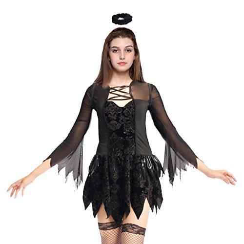 Halloween Cosplay Costume Fallen Angel Dress Dark Angel Costume With Headband Party Family Costume (length: (Angel Makeup For Halloween Costume)