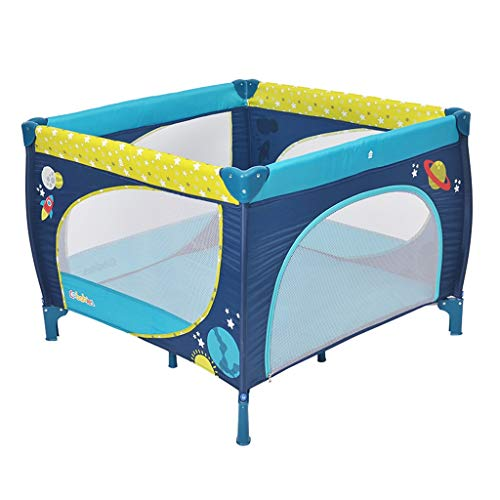 Playpens Foldable Crib Multi-Function Game Bed Children Play Fence Portable Game Indoor Playground Bearing Weight 65kg (Color : Blue, Size : 100x100x76cm) (Playground Games 100)