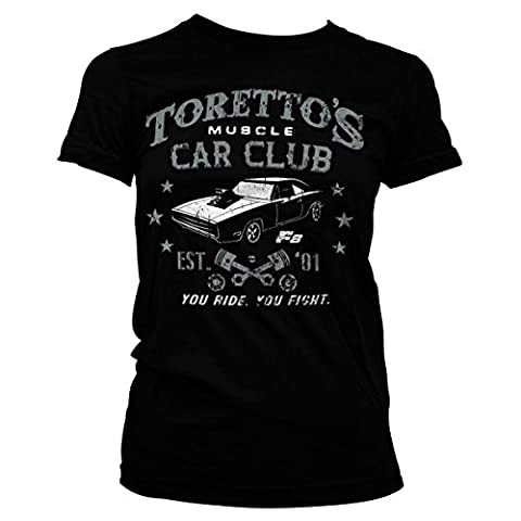 Officially Licensed Toretto's Muscle Car Club Women T-Shirt (Black), XX-Large - Club Ladies Tee