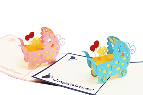 2pcs Baby carriage PRAM Pop up Greeting Cards Mother's Day Postcard Thank You Mom Matching Envelope Laser Cut Handmade 3D Birthday Post Card Baby party (Pack of -