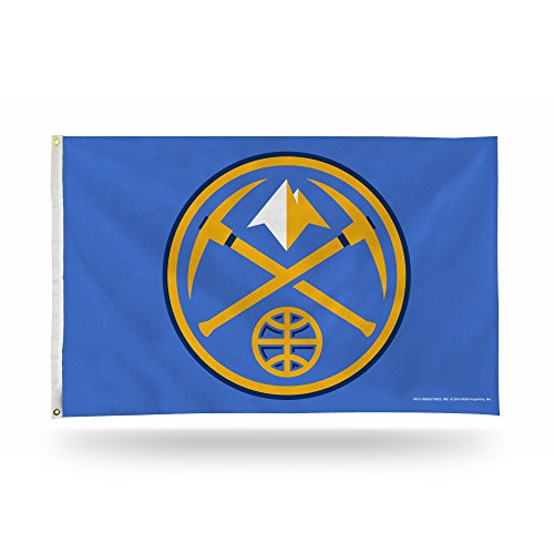 Rico Industries NBA Denver Nuggets 3-Foot by 5-Foot Single Sided Banner Flag with -