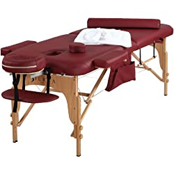 SierraComfort All Inclusive Portable Massage Table, Burgundy