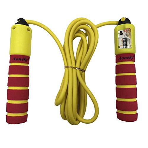 Aoneky Adjustable Kids Jump Rope with Counter and Comfortable Handles (Red)