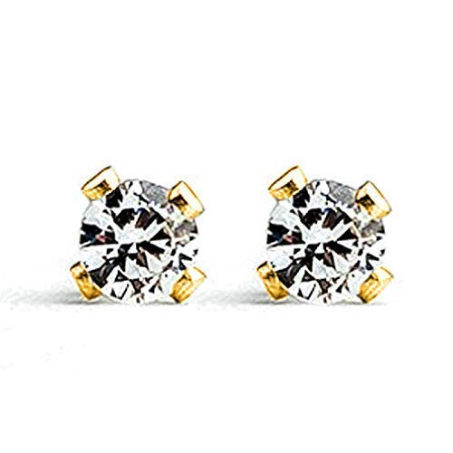 14K Gold Cubic Zirconia 3mm Gemstone Stud Earrings - April Birthstone