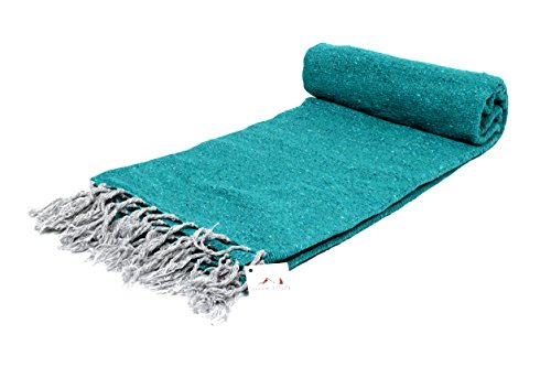 Cheap Open Road Goods Handmade Sea Green/Turquoise Yoga Blanket – Thick Mexican Blanket or Throw – Made for Yoga!