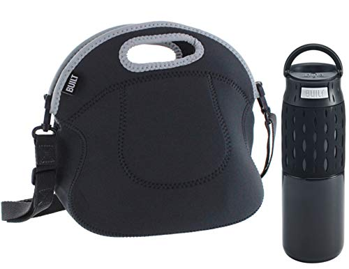 - Built NY Spicy Relish Roomy Insulated Neoprene Lunch Tote with Crossbody Strap and Touch Double Wall Insulated Stainless Steel Push to Drink Travel Coffee Mug with Perfect Seal Technology Set