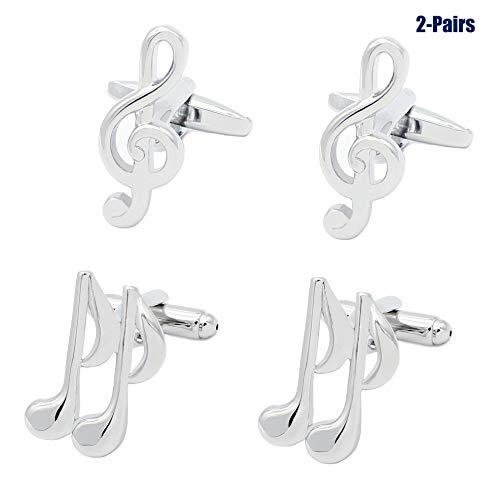2 Pairs Mens Cufflinks Music Notes Musical Unique Wedding Business Shirt Cuff Links Mix Design Set For Mens Jewelry With Gift Box By Gilind
