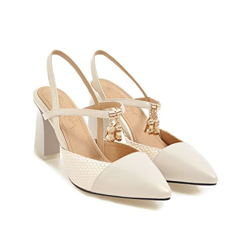 Tip Baotou and sandals heeled spell shoes female thick color Meter versatile white high with r0Uwrf6