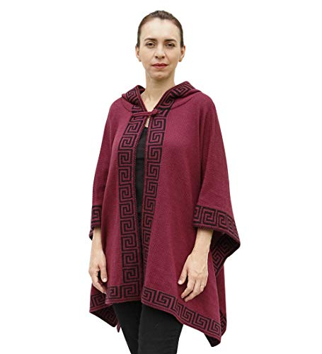 (Women's Soft Alpaca Wool Blend Hooded Knitted Cape Coat Poncho Geometric Border (Burgundy/Black))
