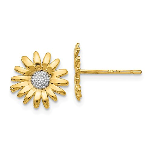 10mm Two Tone Sunflower Post Earrings in 14k Yellow Gold