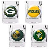 NFL Green Bay Packers Four Piece Square Shot Glass Set (Individual Logos)