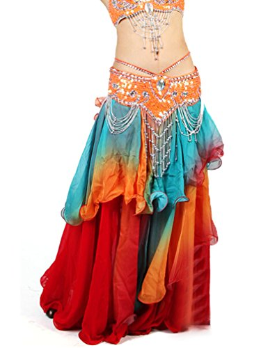 [Belly Dance Colorful Maxi Skirt Dress, Performace Halloween Dancing Costume] (Belly Dancing Dress)