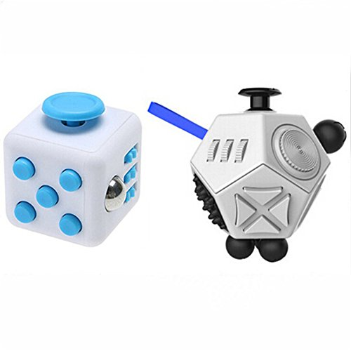 Xinzistar 2 Pcs Fidget Dice II Dice I Stress Release Office Toys Set for Children Adult (White+06)